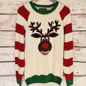 Ugly Christmas Sweater Reindeer Lights Red Green L